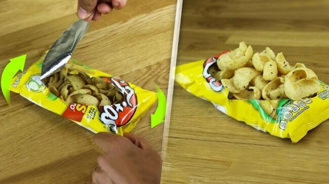 Opening a bag of chips