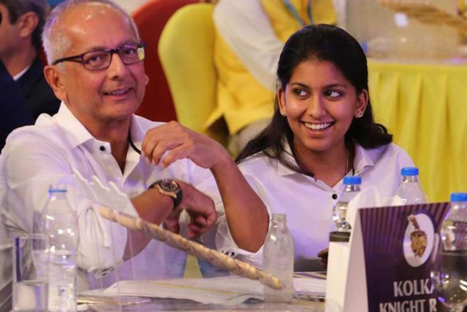 Jay Mehta husband of Bollywood actress Juhi Chawla alonside daughter Jhanvi during the IPL auction 2018 in Bangalore (1)