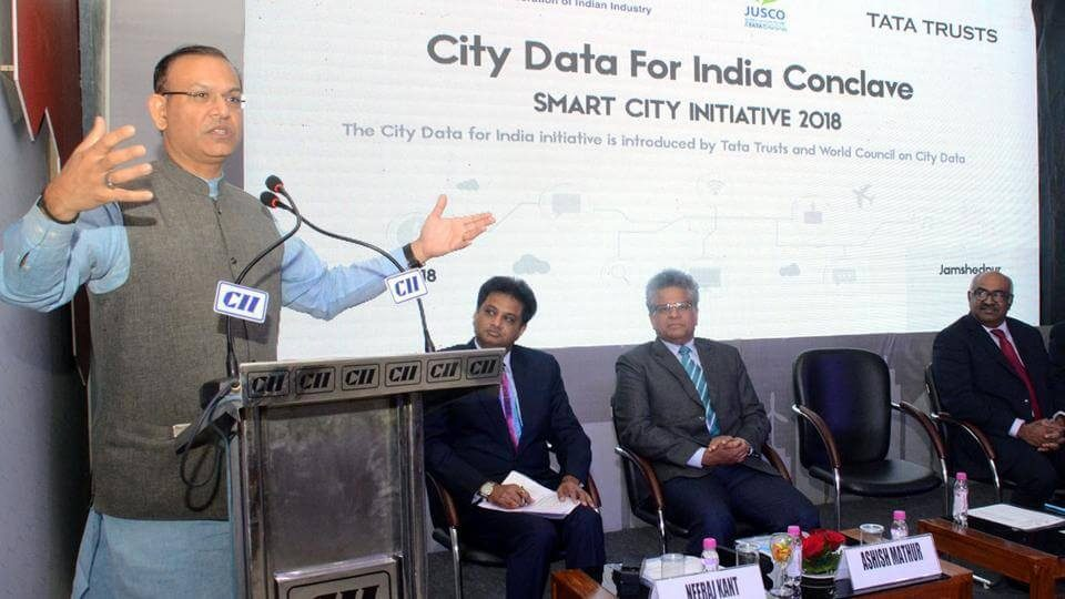 Union minister of state for civil aviation Jayant Sinha addressing the City Data for India conclave in Jamshedpur on Tuesday (1)