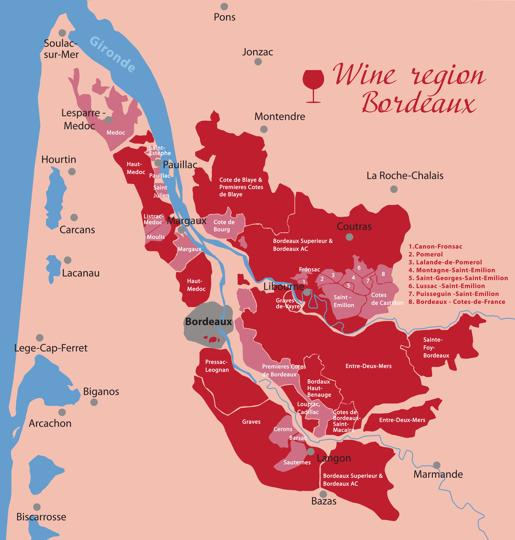 A map of the Bordeaux wine country