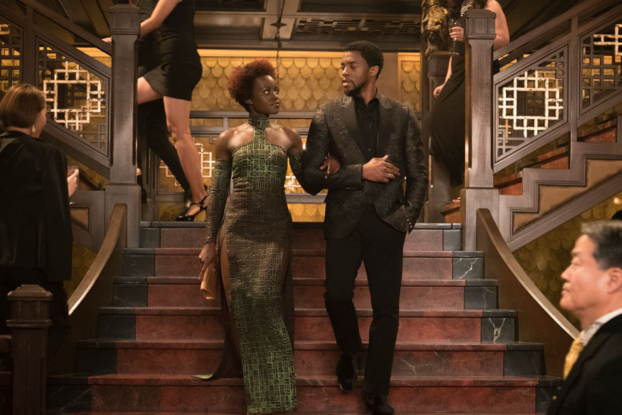 Disney shows Lupita Nyong'o and Chadwick Boseman in a scene from Marvel Studios Black Panther (1)