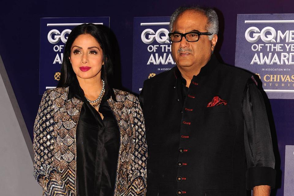 this file photo taken on September 22 2017 shows Indian Bollywood actress Sridevi with husband Boney Kapoor as they attend GQ India's ninth anniversary with the annual Men of the Year Awards 2017 in Mumbai (1)