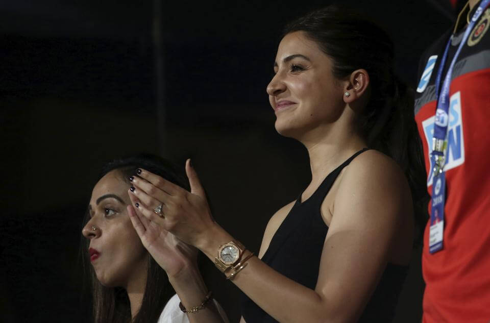 Anushka Sharma right Bollywood actor and wife of Royal Challengers Bangalore captain Virat Kohli