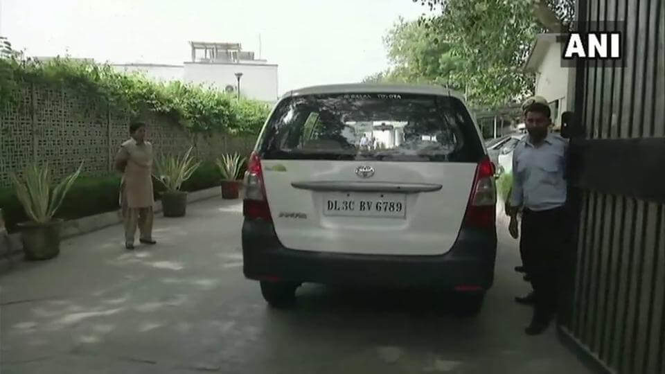 A CBI team at Delhi PWD minister Satyendar Jain's residence in New Delhi